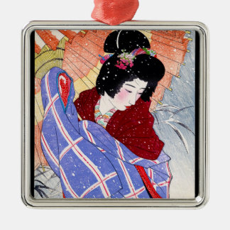 Cool japanese lady geisha umbrella snow winter metal ornament