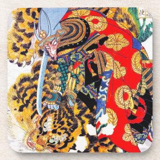 Cool japanese  Legendary Samurai fight tiger art Coaster