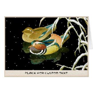 Cool japanese mandarina duck black pond snow card
