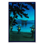Cool japanese moonlit night gate sea hasui kawase posters