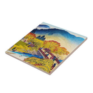 Cool japanese mountain fall river bridge scenery small square tile