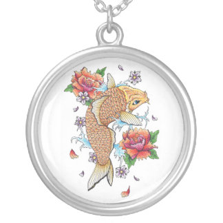 Cool Japanese Oriental Gold Koi Fish Carp Lotus Silver Plated Necklace
