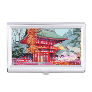 Cool japanese Red Temple Spring Asano Takeji art Business Card Holder