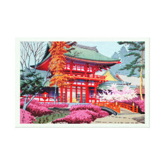 Cool japanese Red Temple Spring Asano Takeji Gallery Wrap Canvas