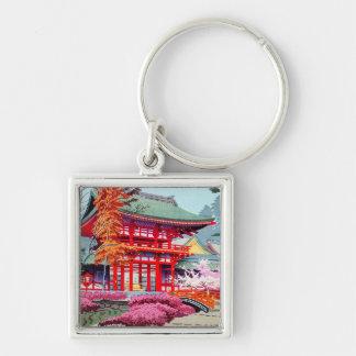 Cool japanese Red Temple Spring Asano Takeji Key Ring