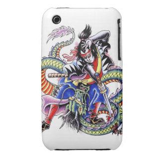 Cool Japanese Samurai Fight Dragon tattoo iPhone 3 Case-Mate Case