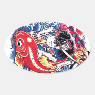 Cool Japanese Samurai Koi Carp red tattoo Oval Sticker