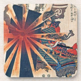 Cool Japanese Samurai Warrior Blistering Sun Art Coaster