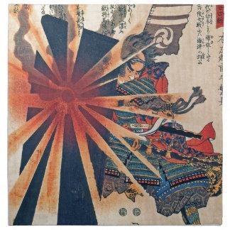 Cool Japanese Samurai Warrior Blistering Sun Art Napkin