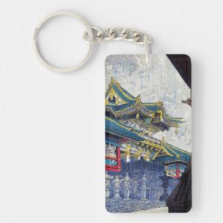 Cool  Japanese Shiro Kasamatsu Ancient Shrine art Double-Sided Rectangular Acrylic Key Ring