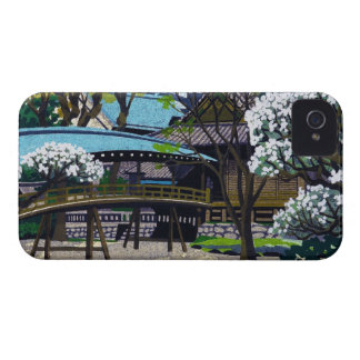 Cool japanese spring village town bridge cherry iPhone 4 cover