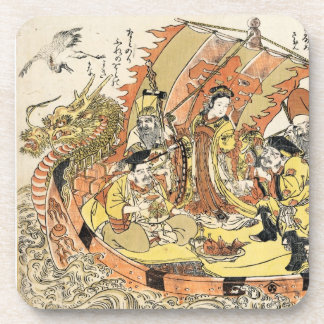 Cool japanese ukiyo-e mythical dragon ship crew drink coaster