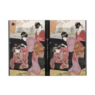 Cool japanese ukiyo-e trio geisha lady scroll cover for iPad mini