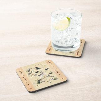 Cool japanese vintage ukiyo-e butterfly scroll drink coasters