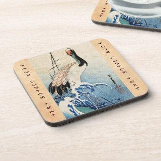 Cool japanese vintage ukiyo-e crane bird scroll beverage coasters