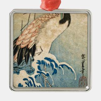 Cool japanese vintage ukiyo-e crane bird scroll metal ornament