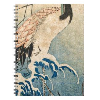 Cool japanese vintage ukiyo-e crane bird scroll notebook