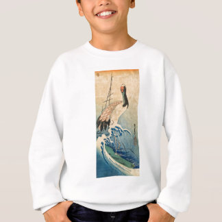 Cool japanese vintage ukiyo-e crane bird scroll sweatshirt