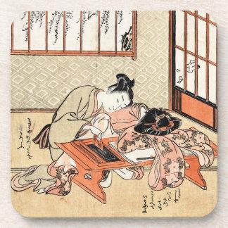Cool japanese vintage ukiyo-e geisha scroll beverage coaster