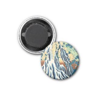 Cool japanese vintage ukiyo-e Hokusai waterfall 3 Cm Round Magnet