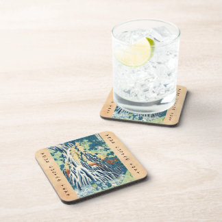 Cool japanese vintage ukiyo-e Hokusai waterfall Drink Coasters