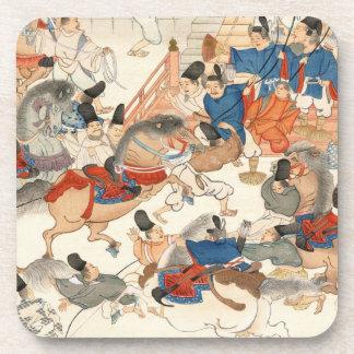 Cool japanese vintage ukiyo-e horse riders cavalry coaster