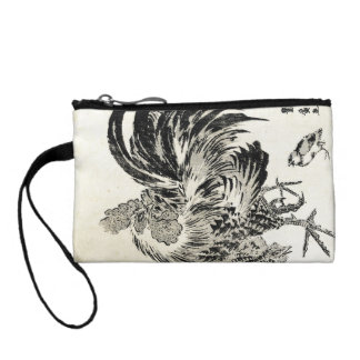 Cool japanese vintage ukiyo-e ink rooster chicken coin purses