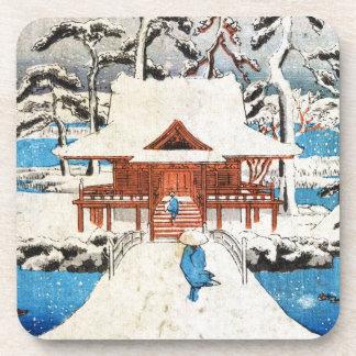 Cool japanese vintage ukiyo-e lake shrine snow drink coaster