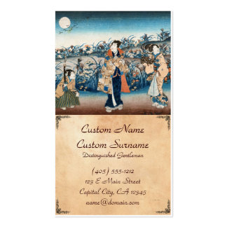 Cool japanese vintage ukiyo-e moonlit night scene pack of standard business cards