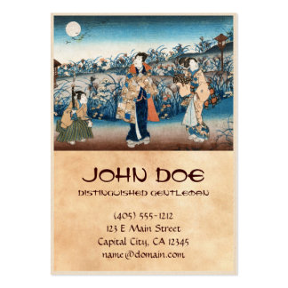 Cool japanese vintage ukiyo-e moonlit night scene pack of chubby business cards