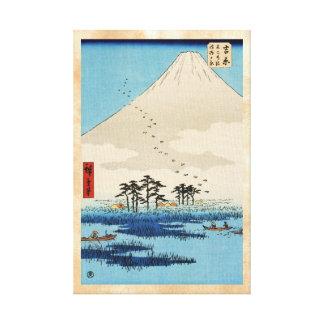 Cool japanese vintage ukiyo-e mountain Fuji view Canvas Print