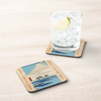 Cool japanese vintage ukiyo-e mountain Fuji view Drink Coaster