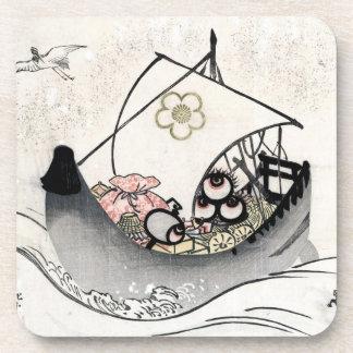 Cool japanese vintage ukiyo-e myth legend boat art drink coaster