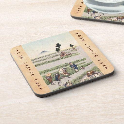 Cool japanese vintage ukiyo-e people landscape beverage coaster