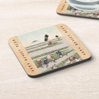 Cool japanese vintage ukiyo-e people landscape drink coaster