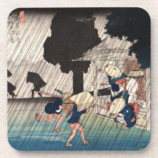 Cool japanese vintage ukiyo-e rainy day scene beverage coaster