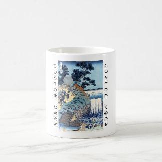 Cool japanese vintage ukiyo-e seaside landscape basic white mug
