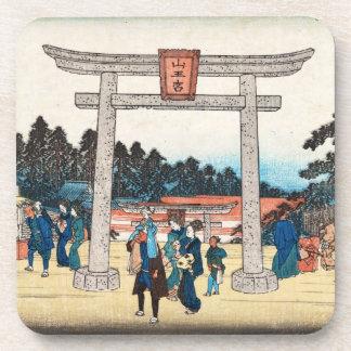 Cool japanese vintage ukiyo-e tori gate village drink coaster