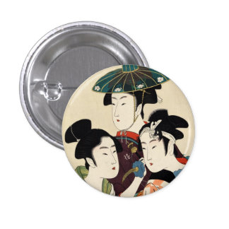 Cool japanese vintage ukiyo-e trio lady geisha art 3 cm round badge
