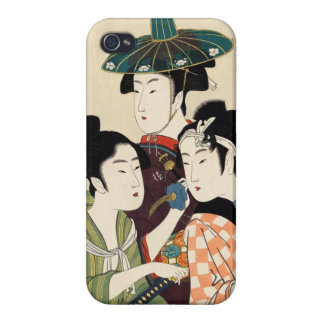 Cool japanese vintage ukiyo-e trio lady geisha art cases for iPhone 4