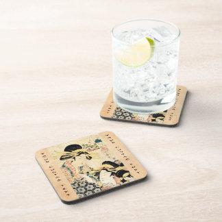 Cool japanese vintage ukiyo-e two geisha lady beverage coasters