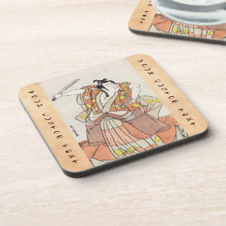 Cool japanese vintage ukiyo-e warrior old scroll coaster