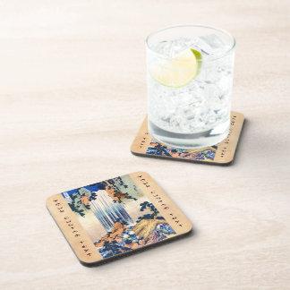 Cool japanese vintage ukiyo-e waterfall Hokusai Coasters