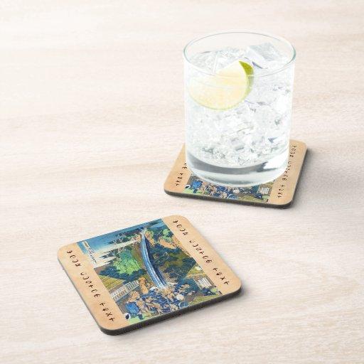 Cool japanese vintage ukiyo-e waterfall Hokusai Beverage Coaster