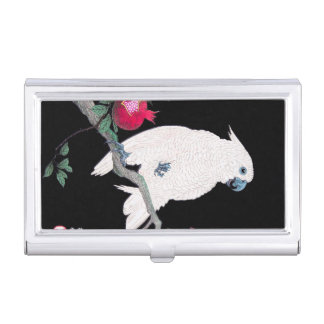 Cool japanese white cockatoo parrot tropical bird business card holder