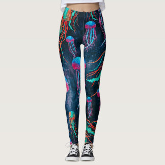 Cool Jellyfish in Deep Blue Sea Leggings