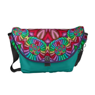 Cool kaleidoscope Messenger bag wth fantasy flower