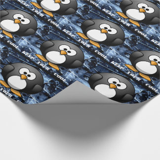 """COOL """"KEEP IT COOL"""" PENGUIN,  CHRISTMAS MENS WRAP WRAPPING PAPER"""