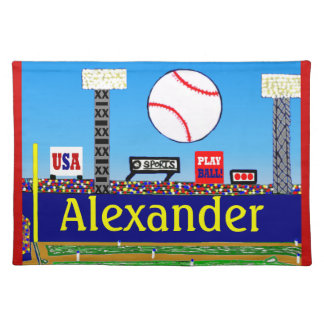 Cool Kids Baseball Placemat Made in America Gift Cloth Placemat