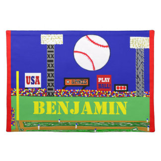 Cool Kids Baseball Placemat Made in USA Sport Gift Cloth Place Mat